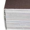 reliure à la colle thermofusible ou reliure PUR : le dos du bloc de livre est rendu rugueux et est collé avec la couverture