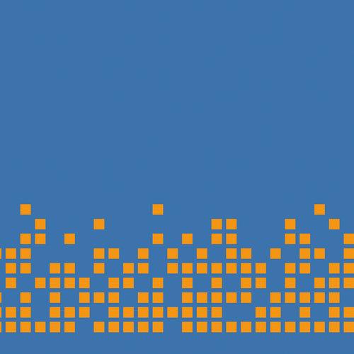 pixel orange sur fond bleu