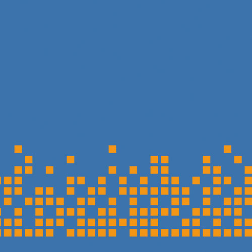 pixel orange sur fond bleu