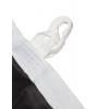 double ourlet périphérique, renforcé avec un ruban de garniture sur le côté long, avec passants et mousqueton