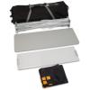 Accessoires : transport trolley, système de grilles pliable, plaque de dessus argentée, plaque d'insertion en plastique