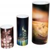présentoir de forme cylindrique, disponible en 3 tailles différentes
