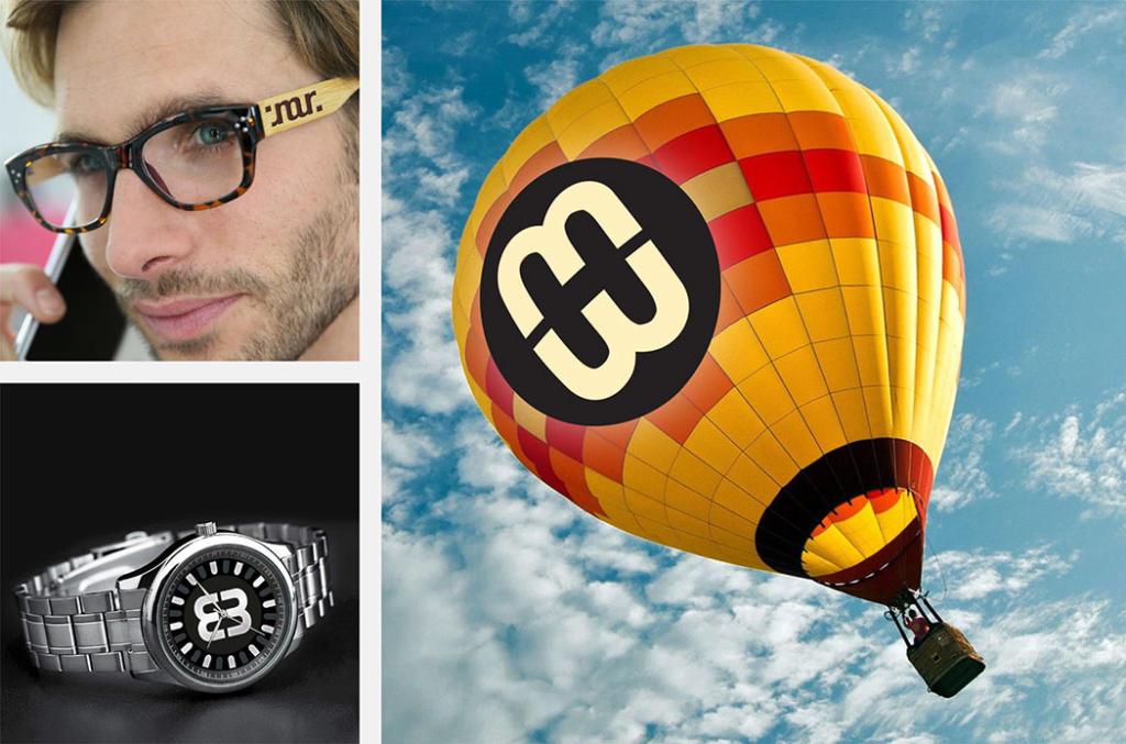 Ambigrammes sur lunettes, cadran d'une montre, montgolfière